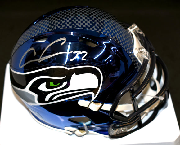 Chris Carson Signed Seahawks Blue Chrome Mini Helmet JSA COA