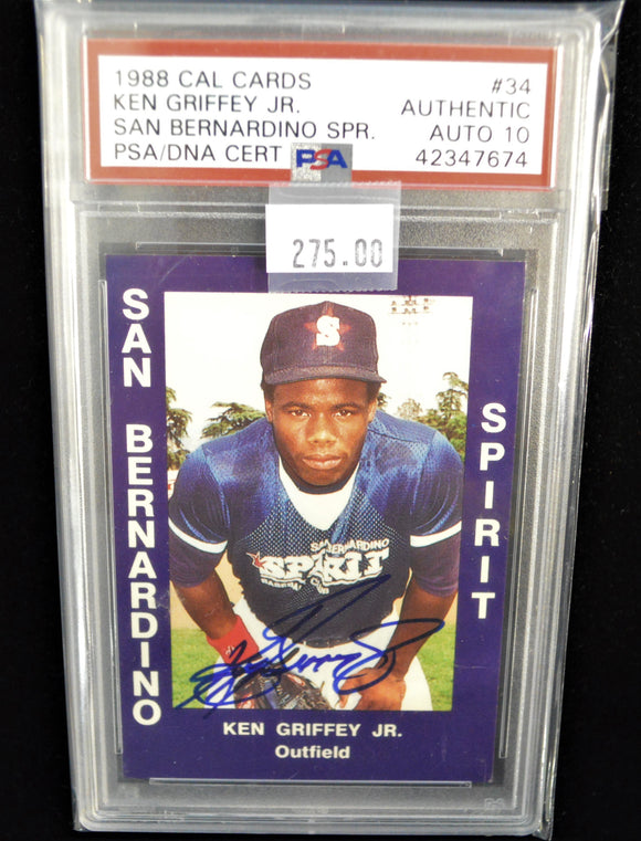 Ken Griffey Jr. 1988 San Bernardino Spirit #34 PSA/DNA 10 Auto Signed Card  *FREE SHIPPING*