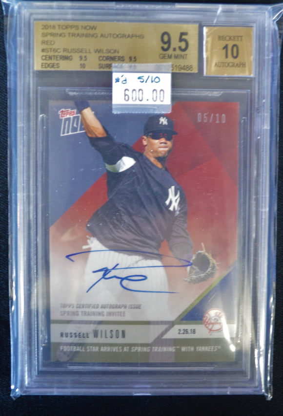 Russell Wilson 2018 Topps Now Spring Training RED Signed Card #5/10 BGS 9.5 w/10 Autograph