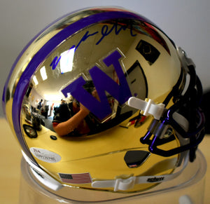 Myles Gaskin Signed UW Chrome Mirror Mini Helmet w/ JSA COA *FREE SHIPPING*