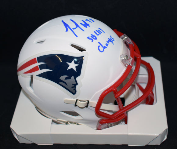 Jacob Hollister Signed Patriots Matte White Mini Helmet Super Bowl Champs Insc w/JSA COA