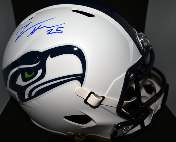 Travis Homer Signed White Full Sized Seahawks Replica Helmet