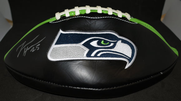 Travis Homer Signed Seahawks Black Football *FREE SHIPPING