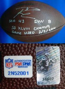 Russell Wilson Autographed Official Super Bowl XLVIII Game Used Football