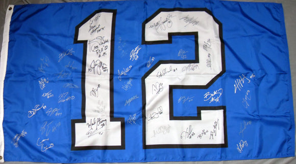 3'x5'12th Man Flag with nearly fifty Seahawks Autographs