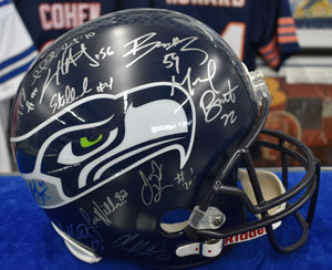 2014 Seattle Seahawks Full Sized Replica Helmet Signed x19