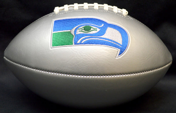 Seahawks Silver Football with Embroidered Retro Logo Unsigned