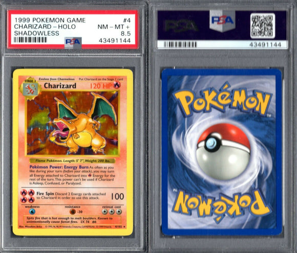 PSA 8.5 1999 Pokemon Base Set Shadowless 4/102 Charizard HOLO G00 2689