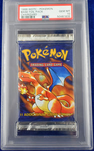 Pokemon PSA 10 1999 Base Set Booster Pack Unlimited Edition Charizard Artwork