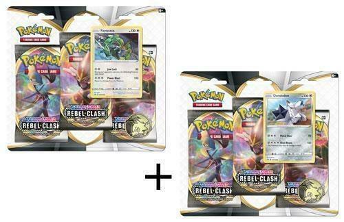 Pokemon Sword and Shield Rebel Clash Booster Pack x6 w/Rayquaza & Duraludon Holofoils