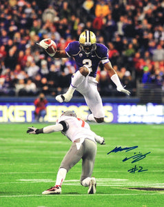 "Kasen Williams UW Huskies Signed 8x10 Photo ""Leap vs WSU"" *FREE SHIPPING*"