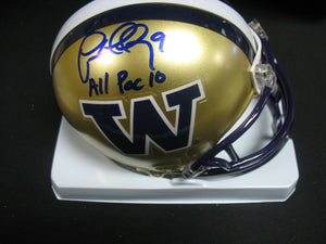 "Lawyer Milloy UW Huskies Signed Gold Mini Helmet ""All Pac 10"" JSA COA *FREE SHIPPING*"