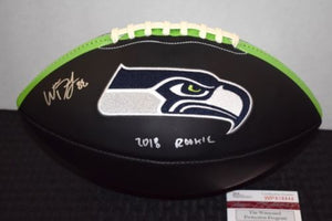 Will Dissly Seahawks Signed Black Logo Ball JSA Certified Autograph *FREE SHIPPING*