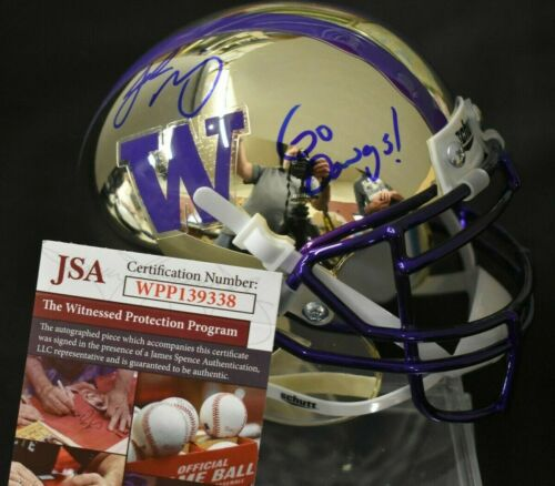 Jake Browning UW Huskies Signed Chrome Football Mini Helmet Go Dawgs! JSA COA *FREE SHIPPING*