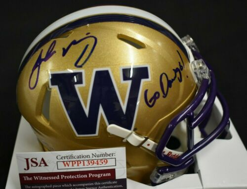 Jake Browning UW Huskies Signed Gold Football Mini Helmet Go Dawgs!  JSA COA *FREE SHIPPING*
