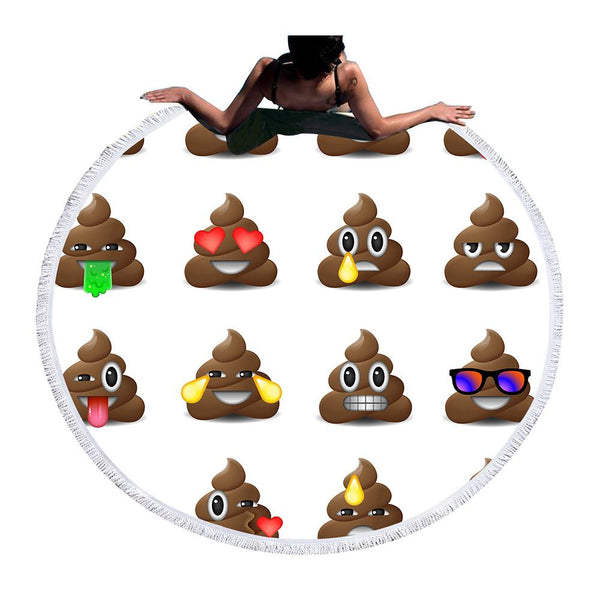 Beach Towels - EMOJI POOP BEACH TOWEL