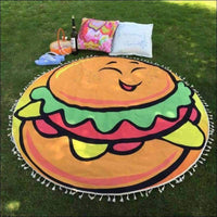Beach Towels - HAMBURGER ROUND HIP TAPESTRY