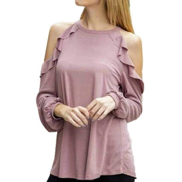 Womens - COLD SHOULDER RUFFLES BLOUSE