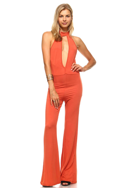 Womens - Jumpsuit Keyhole Bell Bottoms