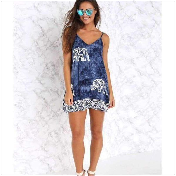 Womens - STRAPLESS DRESS PRINT ELEPHANT