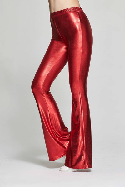 Womens - Womens Shiny Skinny Flared