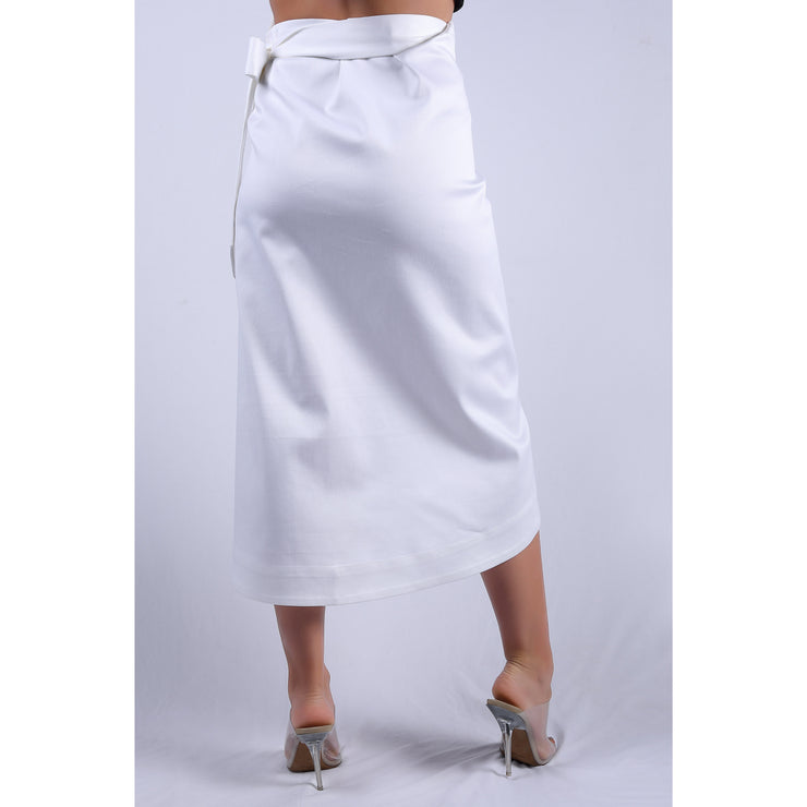 Back View Of Cruise White Double Fold Skirt