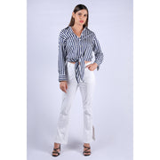Idra Blue and White Stripe Top