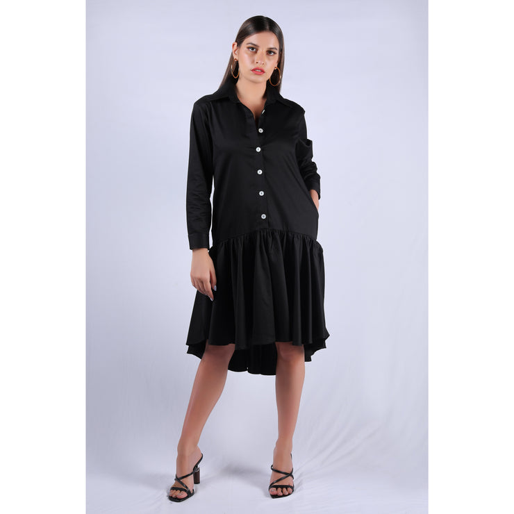 Front View of Black Rose Dress