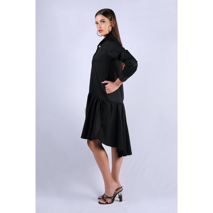 Side View of Black Rose Dress
