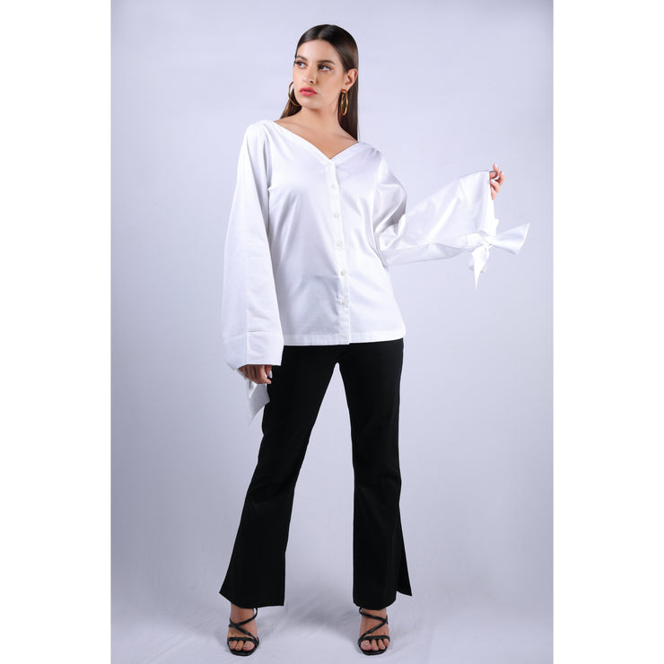 Front View Of Nadine Double Bow White Top With V Neckline And Full Sleeves