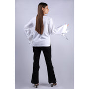 Back View Of Nadine Double Bow White Top With V Neckline And Full Sleeves