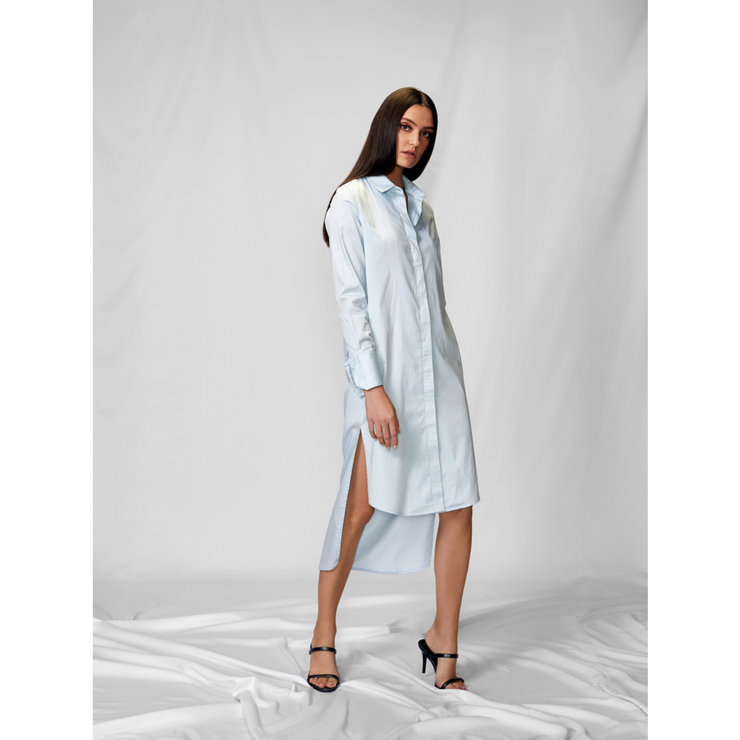 Powder Blue Tux Shirt Dress