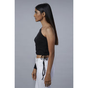 Chelsea Black One Shoulder Top Side  View  with drawstrings
