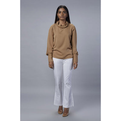 Colette beige cowl neck top front view