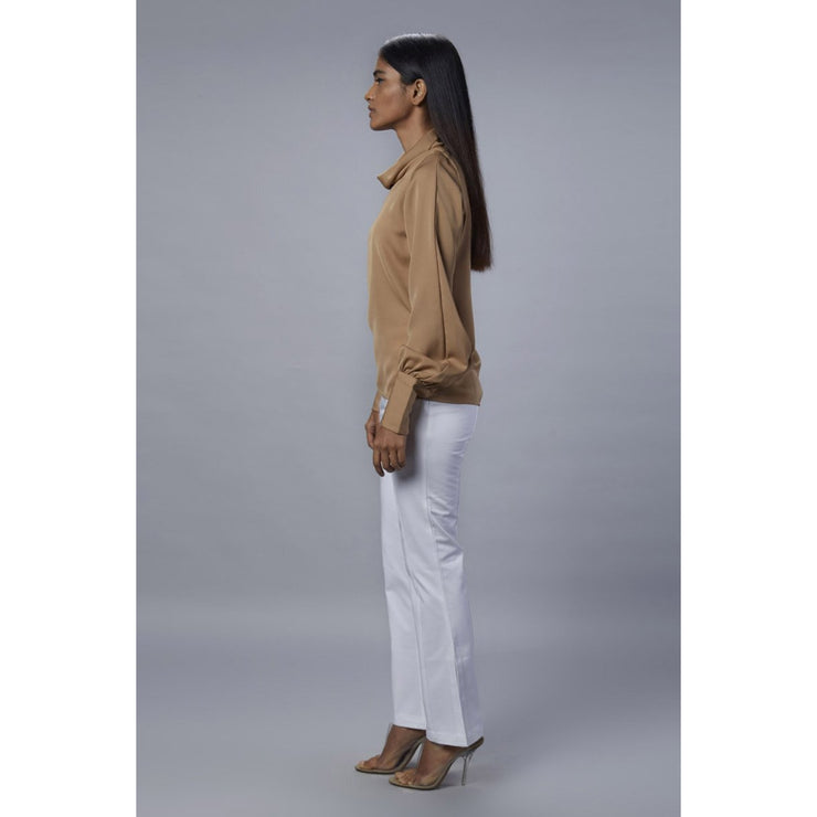 Colette Beige Cowl Neck Top Side View with White Pants