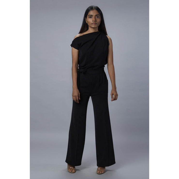 Lizzo Black Off Shoulder Jumpsuit front View