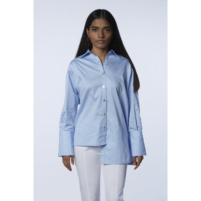 Asymmetrical Powder Blue Button Down Shirt Front View