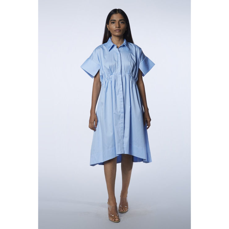 The Victoria Powder Blue Dress Front View