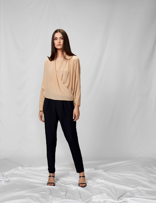 Front View of Nude Crepe Top