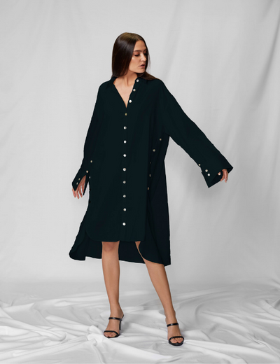 Front View Of Black Jacket Shirt Dress