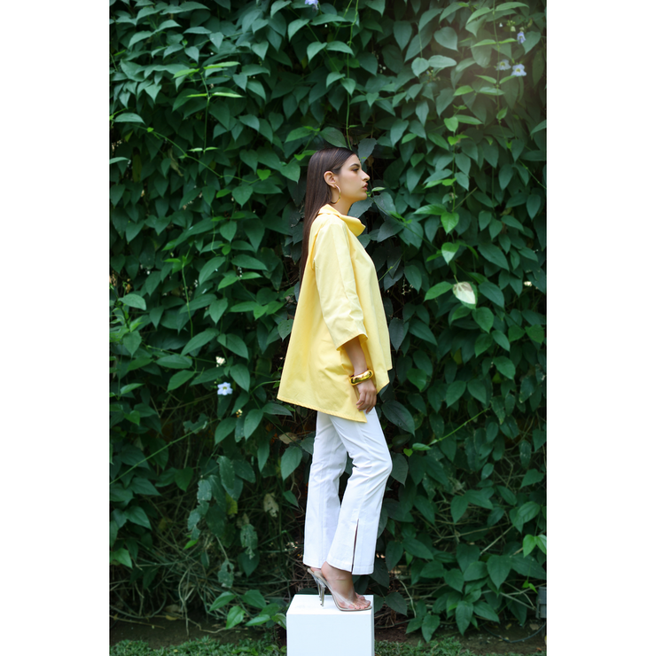 Side View of Alix Cotton Cowl Yellow Top
