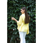 Back View of Alix Cotton Cowl Yellow Top