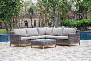 Seville Rattan Corner Sofa with Coffee Table
