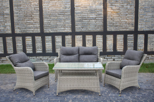 Space Saving Rattan Sofa Set Dining Table