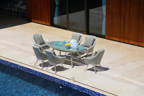 Merchana Contemporary Rattan Oval Dining