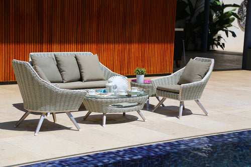 Merchana Scandinavian Rattan Lounge Sofa Set