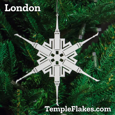 London England Temple Christmas Ornament