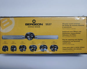 Bergeon 5537 Wrench Key and Chuck Set for Waterproof and Grooved Watch Cases Swiss Made