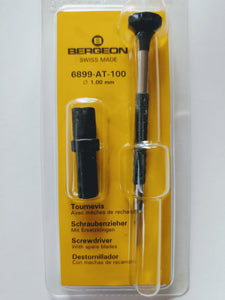 Bergeon 1.00 mm Screwdriver with Spare Blades 6899-AT-100, Ergonomic