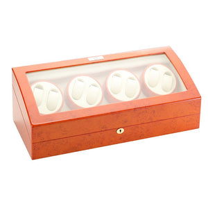 Diplomat Eight Watch Winder Nine Wristwatch Storage. Choose Color. Smart Internal Bi-Directional Timer Control Wood Finish and Leatherette Interior